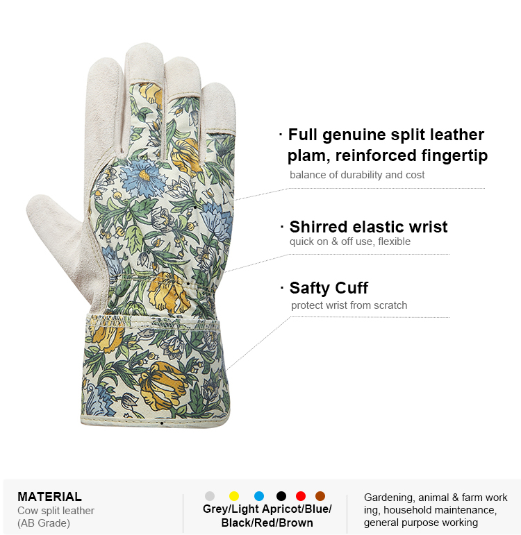 Advanced custom agriculture garden genie hand protective leather print gloves women