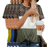 Wholesale 2020 New Design Fashion Summer Casual O Neck Color Block Leopard Women Top