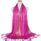 Wholesale Muslim Women Long Twisted Tassel Gold Jacquard Scarf Shawl Glitter Golden Thread Cotton Hijabs