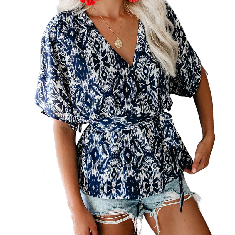 Women V Neck Blue Mosaic Printed Wrap Tunic Top