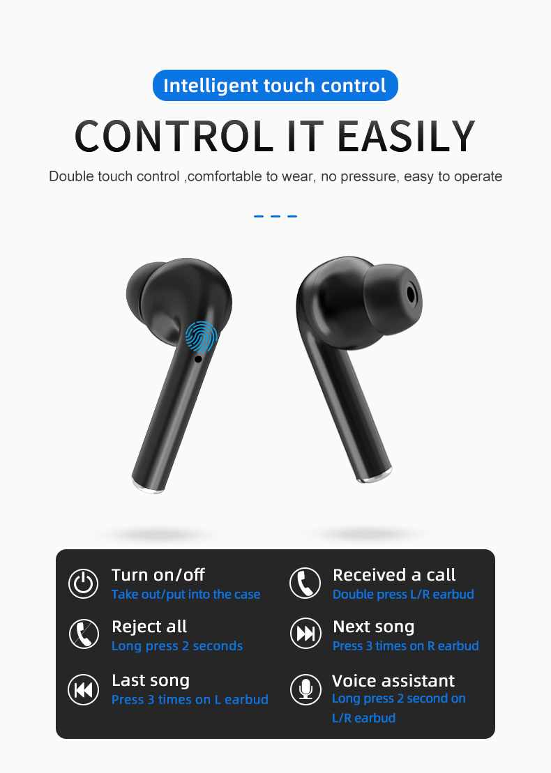 Touch control noise cancelling gute bass wireless bluetooth headset mit mic