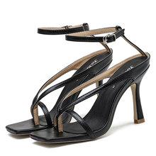 2020 летние женские синие сандалии на высоком каблуке 9 см с ремешками; Соблазнительные женские сандалии на День Святого Валентина; Пикантная ...(Китай)