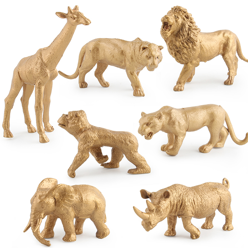 Party Gold Color Animal Model Toy Set Wild Life Animal Toy Educational Toy