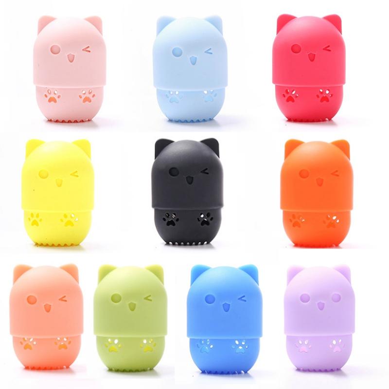 ตัวอย่างราคา $0.1 ความงามแต่งหน้าฟองน้ำเครื่องปั่นคอนเทนเนอร์กระเป๋าถือแมวน่ารักซิลิโคนแต่งหน้าฟองน้ำแห้งผู้ถือ