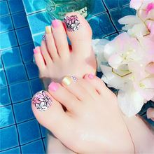 Украшения полное покрытие накладные ногти для пальцев ног с дизайном цветной пластмассы нажмите на поддельные ногти для ног красный сладки...(Китай)