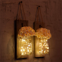 Rustic wood wall hanging decor mason Jars with LED Strip Lights home wall decorations
