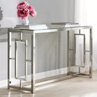 Wholesale High Quality Household Items Customization Luxury Glass Top Metal Console Table for living room