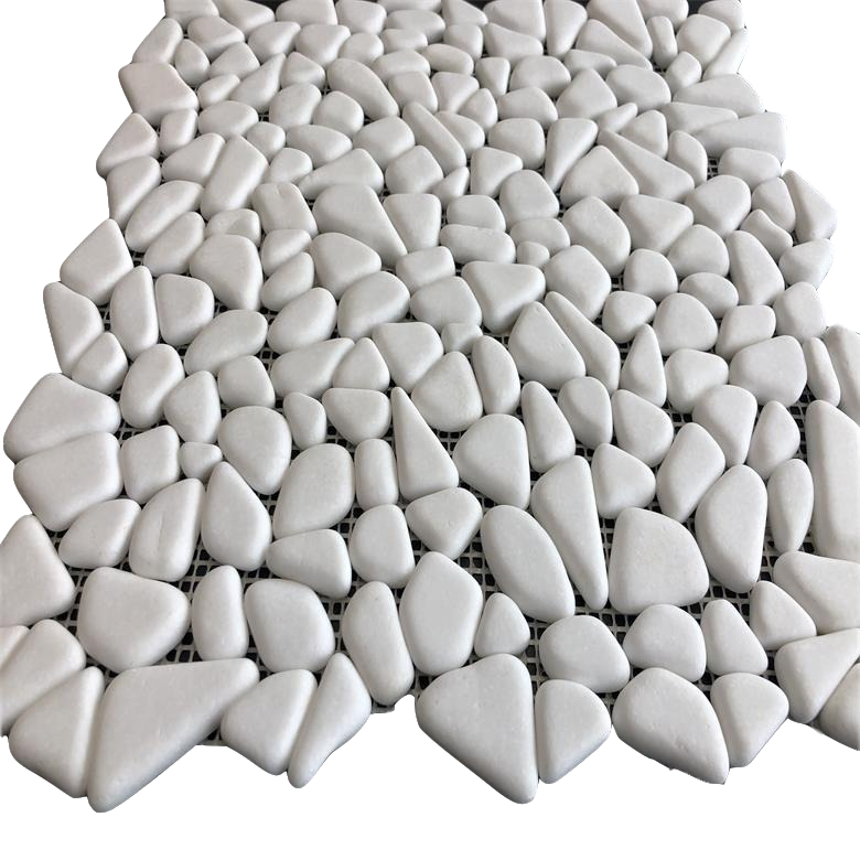 Random size crazy mix Thassos <strong>white</strong> River Rocks <strong>Pebble</strong> Stone Mosaic <strong>Tile</strong> Tumbled