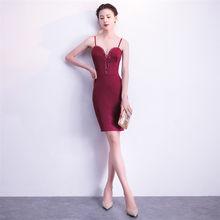 Короткое платье для выпускного вечера It's Yiiya DX350 без рукавов мини размера плюс платья для выпускного вечера 2020 слинг квадратный воротник кри...(China)