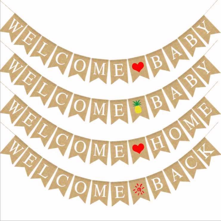 New Baby Shower Decorations String Flag Children Birthday Hanging Bunting Welcome Home Linen <strong>Cloth</strong> Party <strong>Banner</strong>