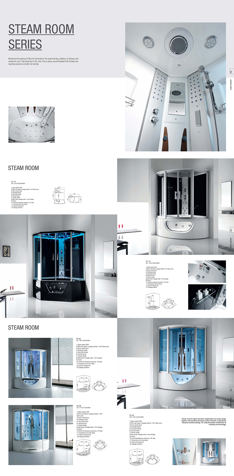 FW-115 top cover shower room/ shower cabina/ prefab glass shower room