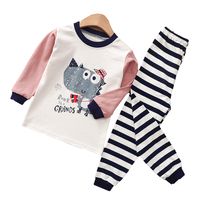 Autumn 100% Cotton Home Clothing Set for Children with Cartoon Printing and Dyeing for Boys and Girls