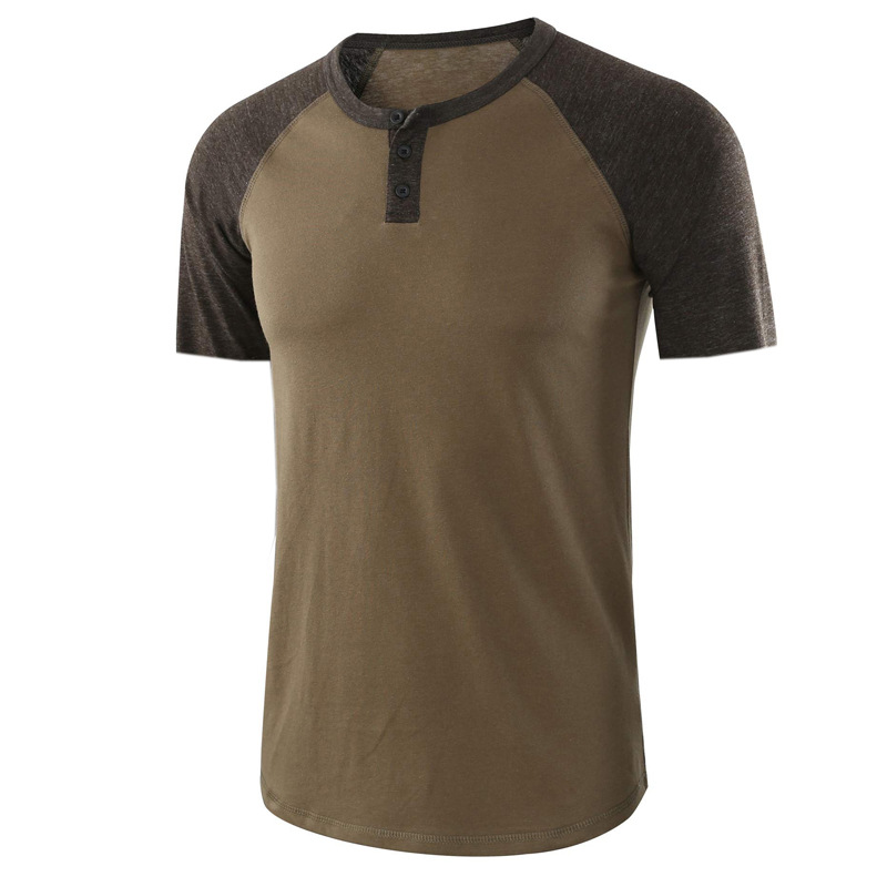 Top Quality Mens Summer Vintage Contrast Stitching Two Tone Henley Button Cotton T-Shirts