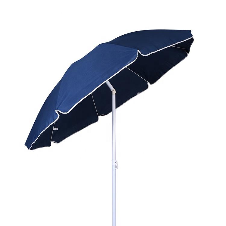 Custom design navy blu 160 centimetri 180 centimetri frangia acciaio inox portatile sun sea ombrello all'aperto sulla spiaggia