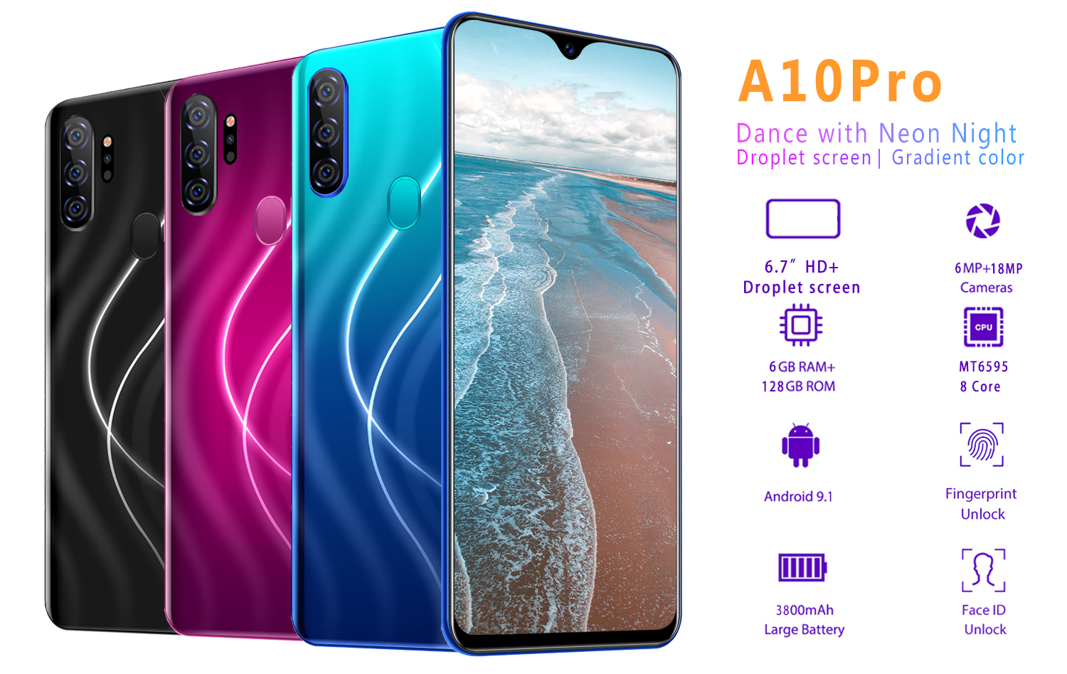 2019 Newest Arrival Smart Phone, 6GB RAM & 128GB ROM A10 Pro Dual Sim Card Mobile Phone