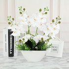 Beautiful Colorful 3D Printing Realistic 4 The Fork Artificial Phalaenopsis Flower Arrangement With White Vase For Wedding Decoration