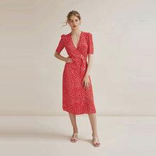 Винтажное платье rouje gabin с поясом и v-образным вырезом, зеленое красное французское романтичное осеннее платье миди с принтом размера плюс, ж...(Китай)