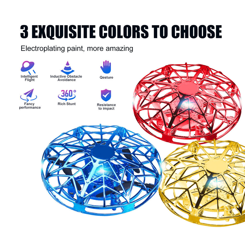 Mini UFO Drone RC Infrared Sensor Induction Aircraft Quadcopter Flying Toy 360°
