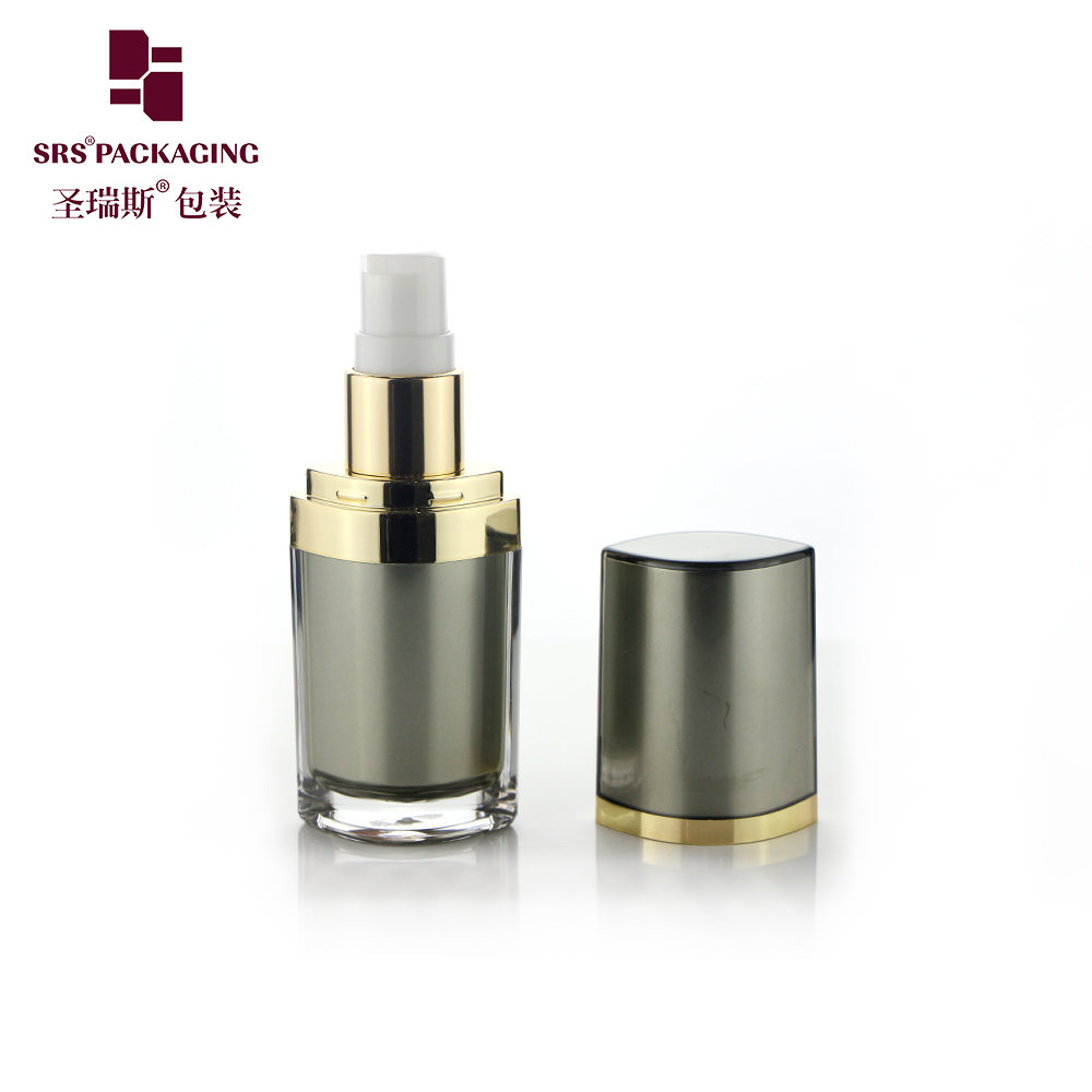 Acrylic plastic 15ml 30ml 50ml 80ml 120ml lotion pump plastic bottles custom pearl white airless skin care container