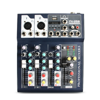 Small cheap price digital audio mixer machine updated F4 series audio music mixer console with USB mini dj mixer
