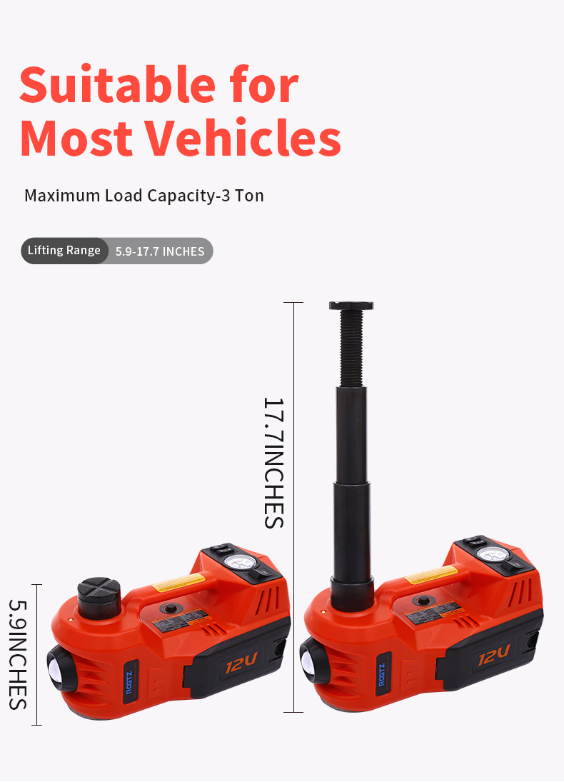 High Quality CE ISO 3Tons 12V Portable Long Stroke Durable Electric Car Hydraulic Jack With Impact Wrench for Quick Replace Tire