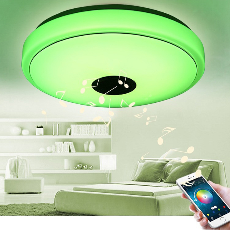 Modern LED Ceiling Light Bluetooth Music RGB Dimmable Lamp 36W APP Remote Control Colourful Party Bedroom 40*40*10cm