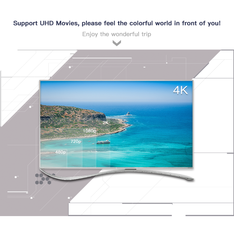 Caja de TV Android inteligente MXO PRO 4K quad-core 2,4G inalámbrico Wifi RAM 1GB ROM 8GB HD 4K reproductor de medios