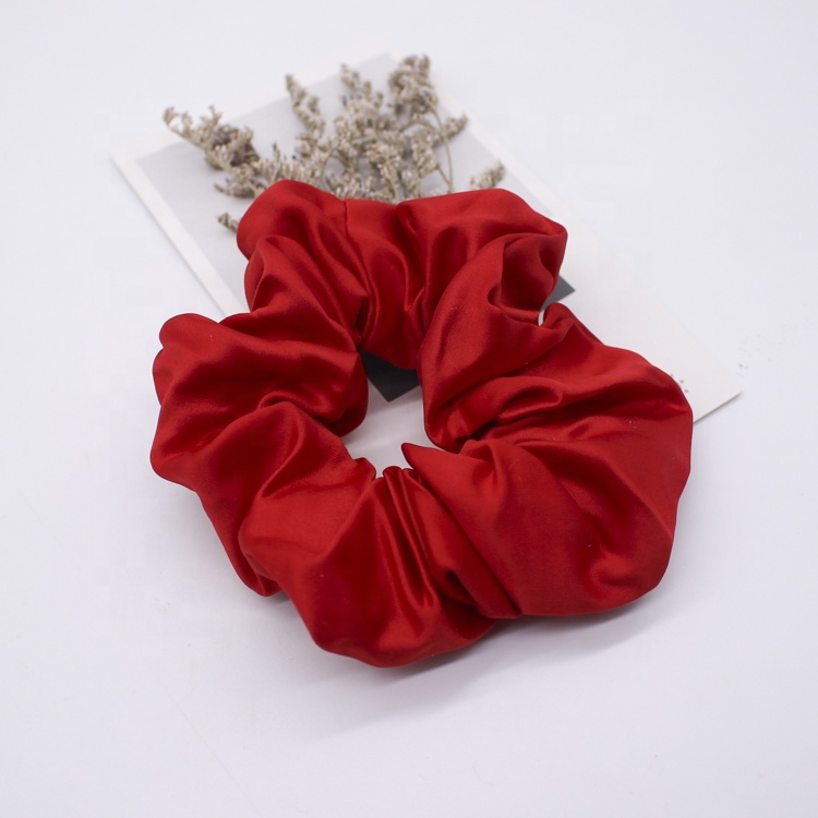 Cheap large hair scrunchies high density satin polyester hair bands for women