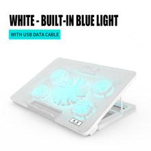 Охлаждающая подставка для ноутбука 2-USB порт с 5 вентиляторами аксессуары для ноутбуков для MacBook Ноутбук теплоотвод Противоскользящий коври...(Китай)