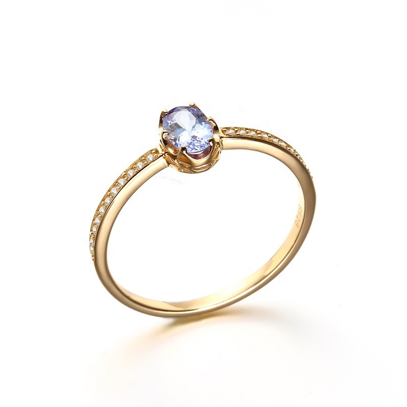 Fashion natural crystal tanzanite ring sterling silver rings