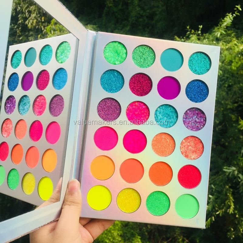 Alibaba.com / UV reactive Neon glow cosmetic NO LOGO Neon makeup Fluorescent Pigment eyeshadow Powder