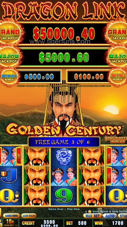 The Newest Dragon Link Golden Century Curved screen Video Slot Game machine for Gambling Machine