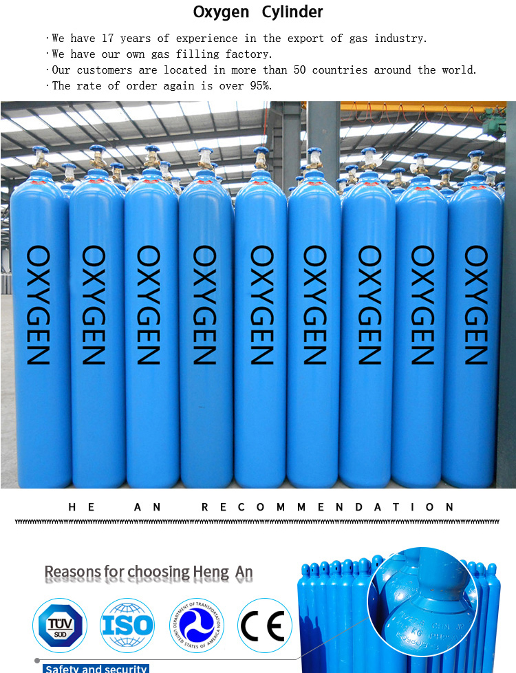 Industrial Seamless Steel Oxygen Gas Cylinder For Oxygen Gas