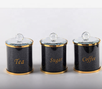 Gold metal color with gold word writing,black crystal diamond tea sugar coffee canister