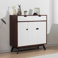 Double color with drawers bedside table white oak of drawer