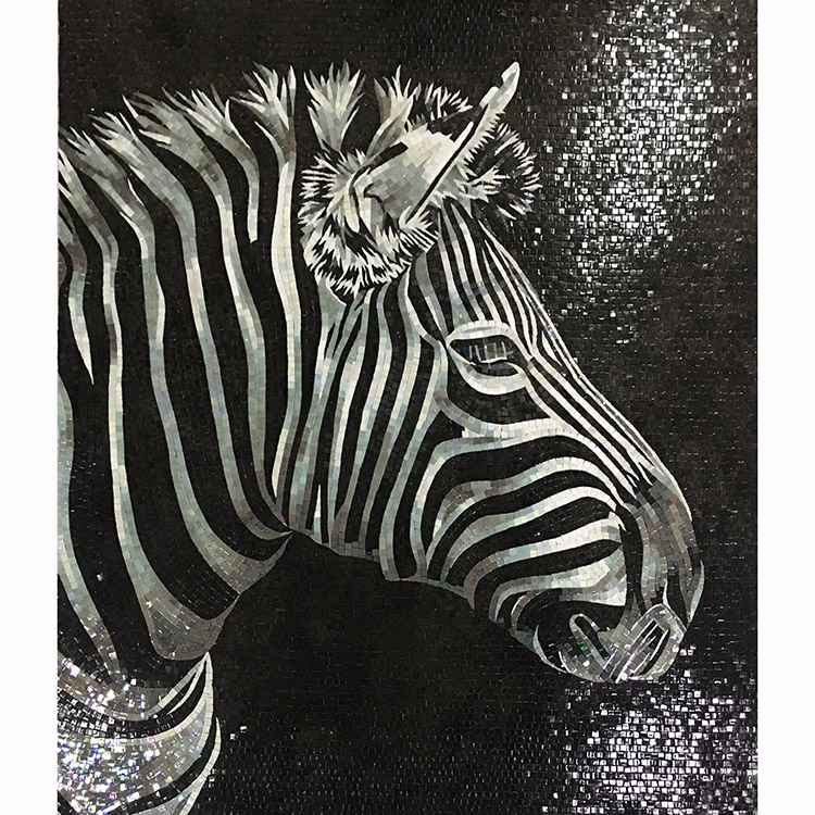 Mixed color for wall decoration Chinese mosaic glass zebra mural