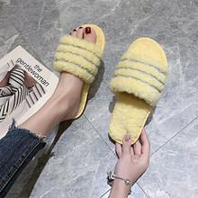 2020 женские меховые тапочки; Зимние женские теплые домашние плюшевые меховые шлепанцы; Женская повседневная обувь на плоской подошве; Милая ...(Китай)