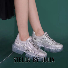 Beautiful diamond inlaid silver lace casual women shoes