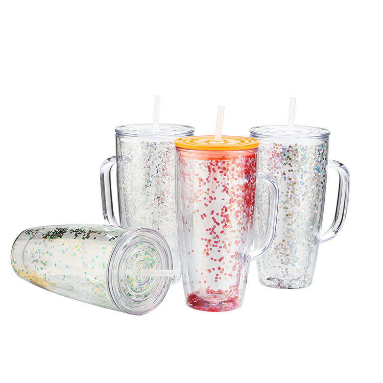 Amazon top seller FDA wholesale products custom clear drinking double wall acrylic glass glitter plastic cups with straw handle