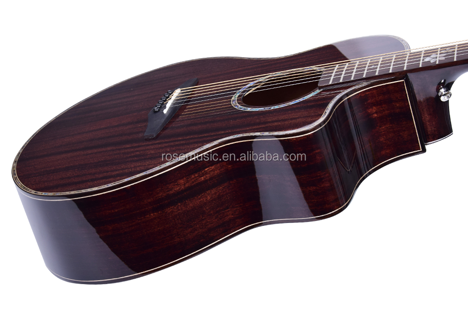 Wholesale price Kaysen OEM brand 6 steel string high-gloss fishing  cutaway electric acoustic guitar made in China