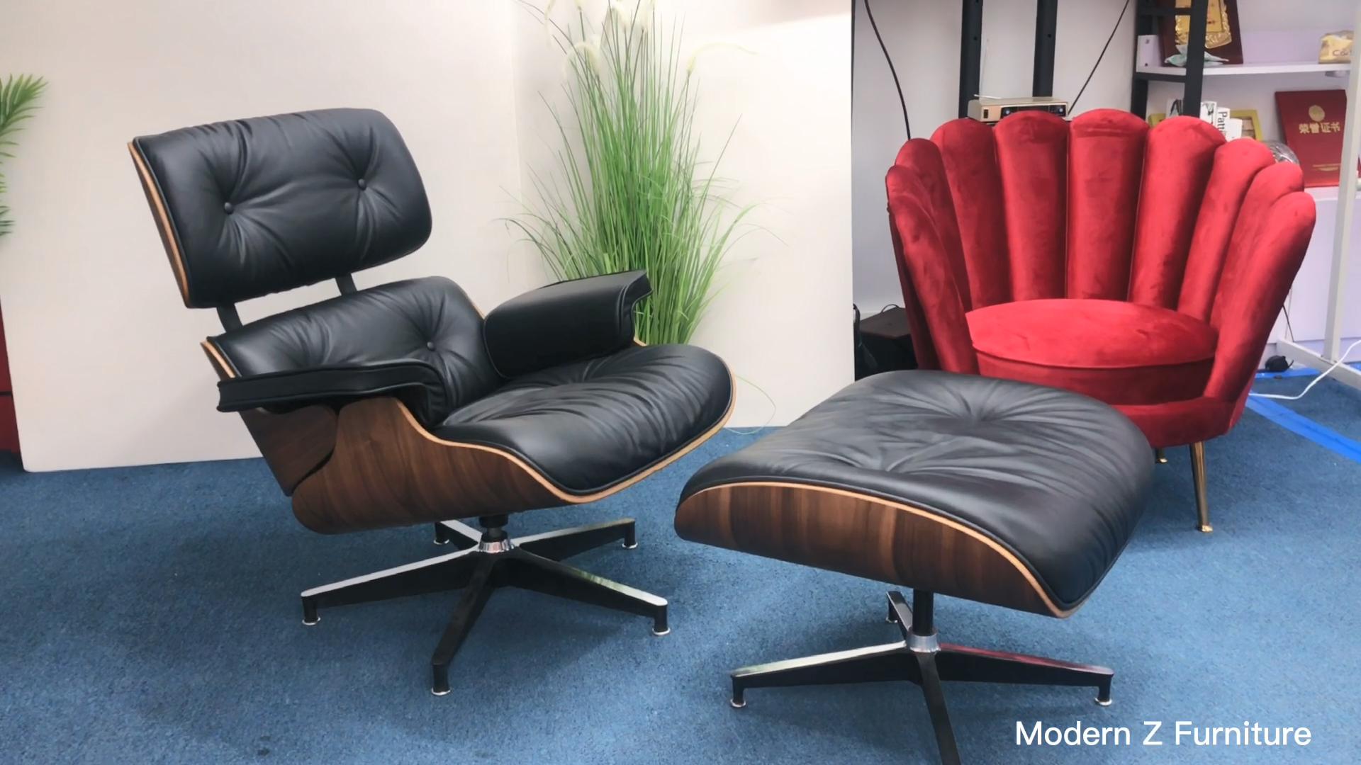 Moderne luxus italienischen möbel wohnzimmer design stühle sessel schwenk liege leder lounge chair mit ottomane braun