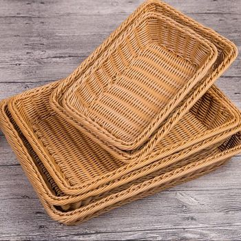 Handmade durable supermarket rectangle brown fruit and vegetable wicker rattan basket display bread basket small storage basket