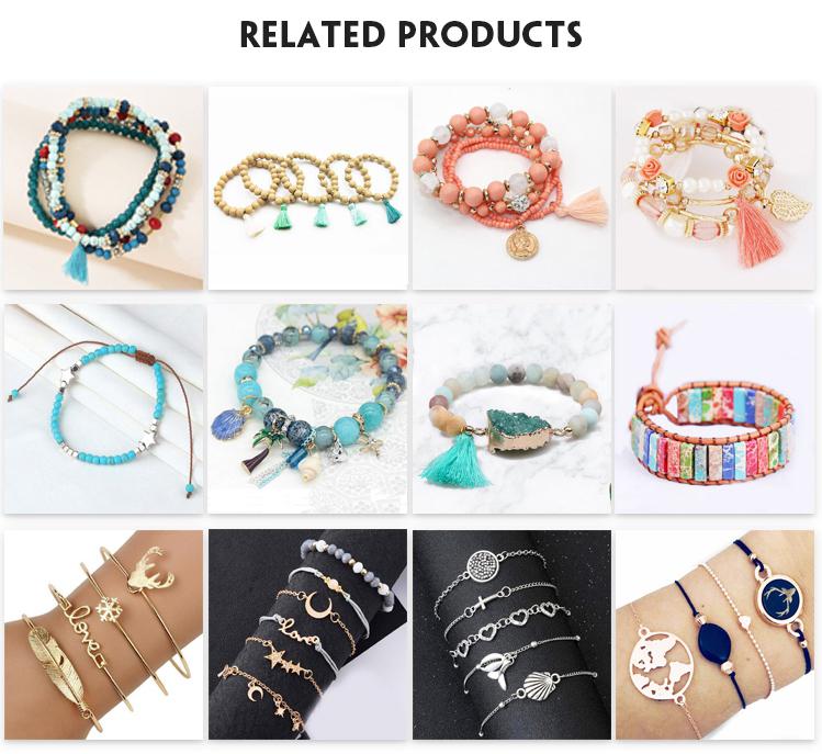 Wholesale best selling silver DIY starfish shell bracelet light blue bead charm bracelet