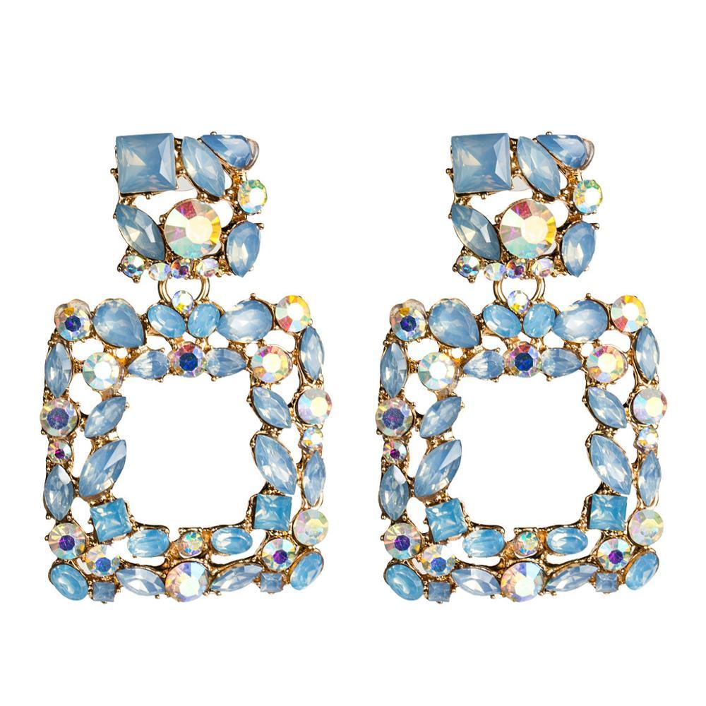 Europeo y americano exagerada de gran marca cuadrado diamantes pendientes de la aleación de mujer Retro de moda pendientes Bohemia