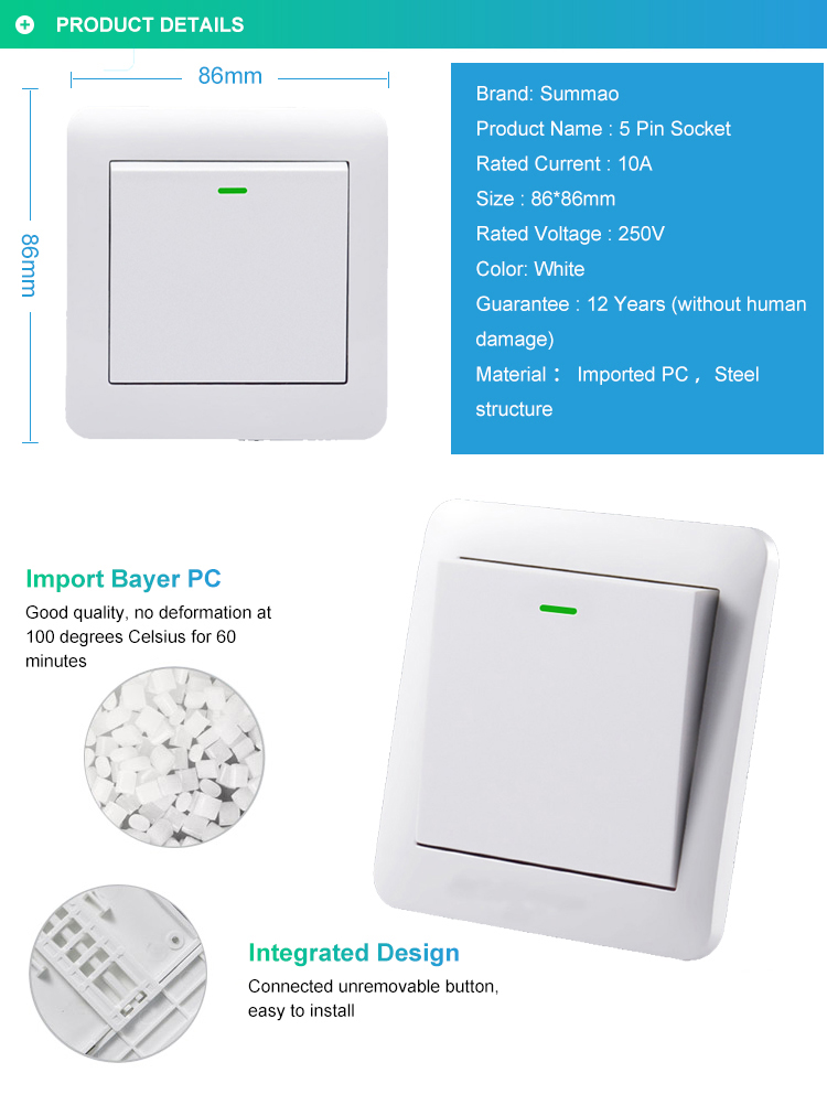 Italian Wall Switch And Socket, Flush Mounted Electric Socket Waterproof