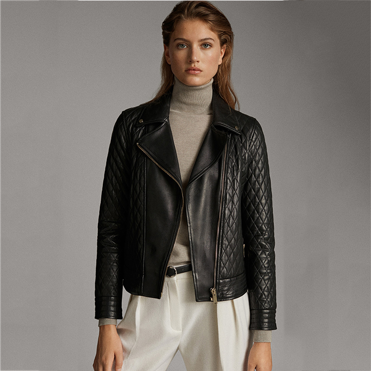 Ladies pu leather jacket bomber women quilted PU leather jacket