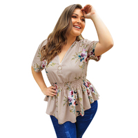 High Quality Plus Size Zipper V Neck Big Size Tunics Floral Printed Casual Fat Ladies Women Tops