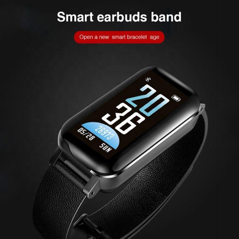 Krx Ear Buds Smart Bracelet - Watch Earbuds Sport Wristband -Heart Rate Blood Pressure Fitness Tracker
