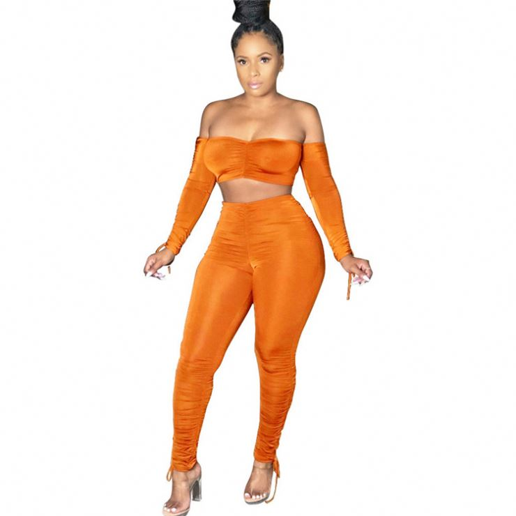 women221 Best Sell Autumn Winter Women Solid Off Shoulder Draped Sexy 2 Pcs Outfits Matching Sets Two Piece Set