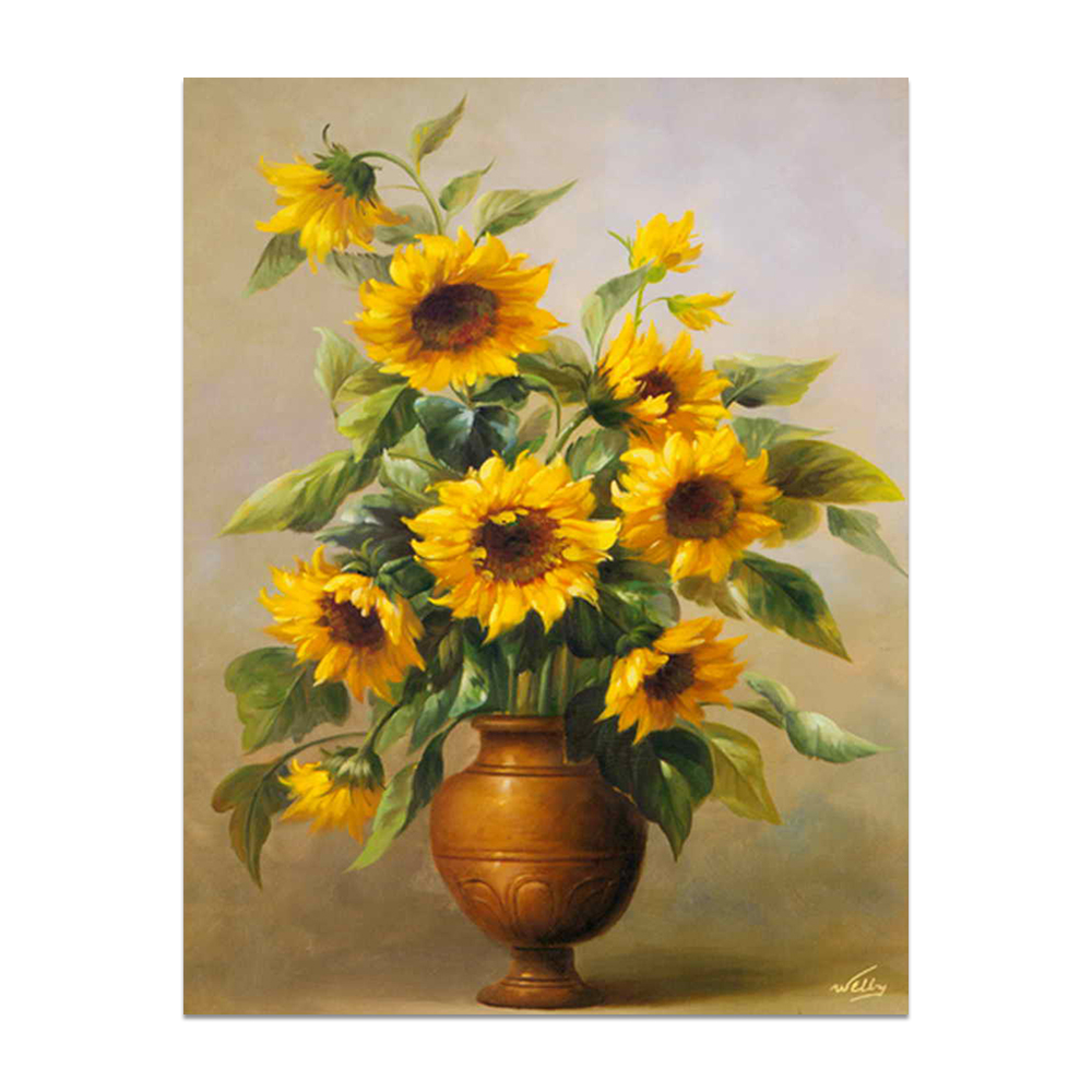 Pure hand-painted high quality design simple yellow flower vase painting
